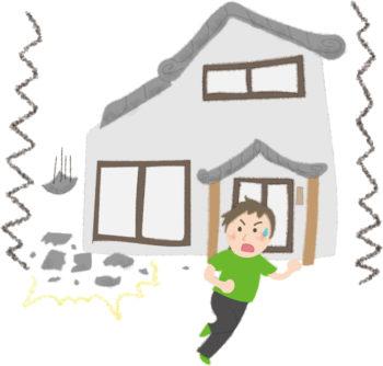 地震で瓦が落ちてきて逃げる人の無料イラスト